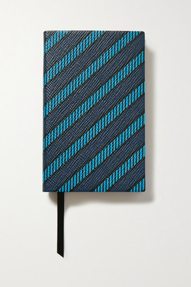 Smythson Panama Printed Textured-leather Notebook - Blue