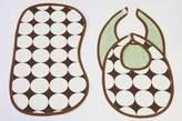 Bacati Dots Green/chocolate Bibs and Burps Set