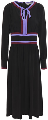 Diane von Furstenberg Cherry Color-block Silk Crepe De Chine Midi Dress