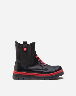 Dolce & Gabbana Calfskin Combat Boots With Branded Laces