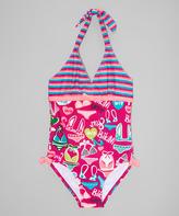 Beach Rays Magenta & Aqua Stripe One-Piece - Girls