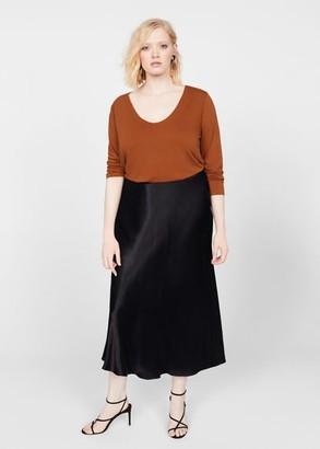 MANGO Violeta BY Cowl neck t-shirt burnt orange - S - Plus sizes