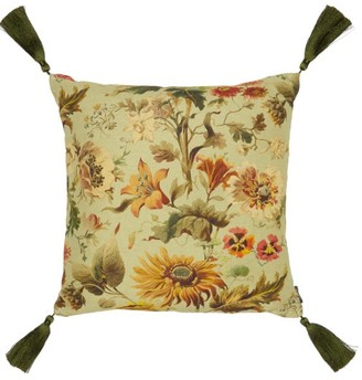 House of Hackney Avalon Medium Floral-print Canvas Cushion - Green Multi