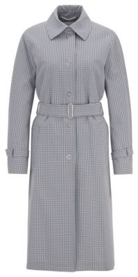 HUGO BOSS Trench Coat In Stretch Fabric With Pepita Check - Patterned