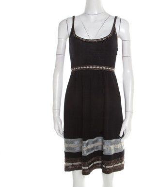 M Missoni Black Knit Contrast Metallic Trim Detail Sleeveless Dress S