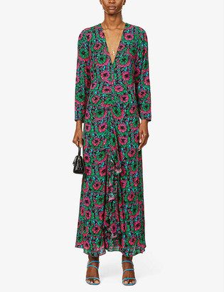 Rixo Rose floral-print woven midi dress