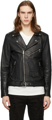 Stolen Girlfriends Club SSENSE Exclusive Black Glitter Logo Leather Jacket