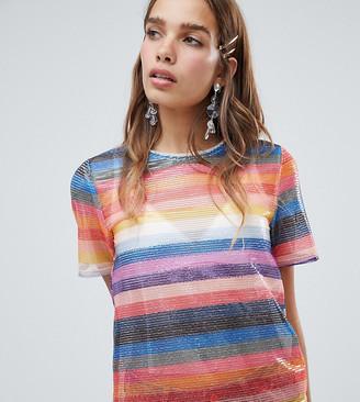 New Look Rainbow Stripe Sequin Tee-Multi