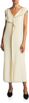 The Row Malka Striped Twill Dress