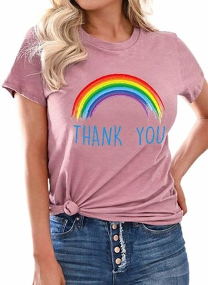 FOBEXISS Womens Ladies T-Shirt Rainbow Pattern and Letters Print T Shirt Short Sleeve Crew Neck Fashion Tunic Teen Blouse Top
