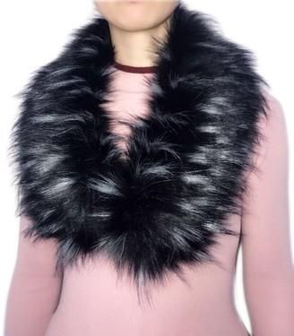 Yilisu Imitation Fox Fur Scarf Faux Fur Shawl Bib Collar (black bottom white tip)