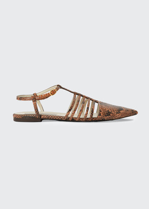 Stella McCartney Snake-Print Cage Ankle-Strap Flat Sandals