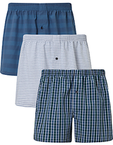 John Lewis Canford Woven Cotton Boxers, Pack Of 3, Blue