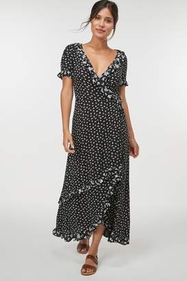 Next Womens Black Floral Wrap Maxi Dress - Black