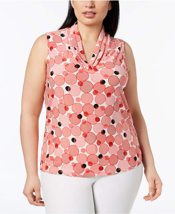 Anne Klein Plus Size Printed Gathered V-Neck Top