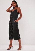 Missguided Black Satin Strappy Oversized Culotte Playsuit