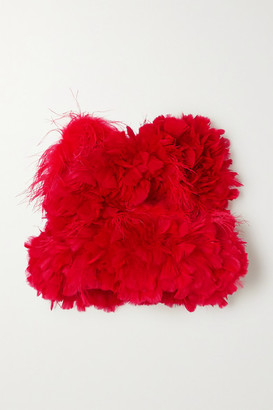 Christopher John Rogers Feather-trimmed Cotton Bustier Top - Red