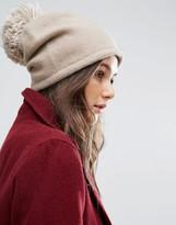 Helene Berman Slouchy Beanie Hat With Knitted Pom Pom