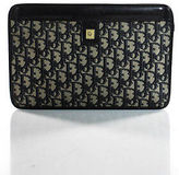 Christian Dior Beige Canvas Leather Hinge Closure Medium Monogram Clutch Handbag