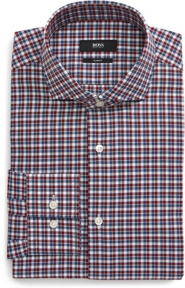 HUGO BOSS Slim Fit Plaid Dress Shirt