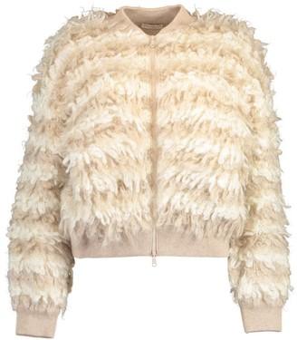 Brunello Cucinelli Textured Striped Mohair Zip Up Sweater