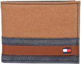 Tommy Hilfiger Khaki & Blue Stripe Passcase Leather Bifold Wallet