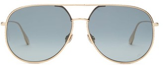 Christian Dior Diorbydior1s Crystal-edge Aviator Metal Sunglasses - Womens - Gold