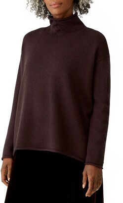 Eileen Fisher Funnel Neck Wool Sweater