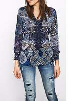 Desigual Navy Crocheted Blouse