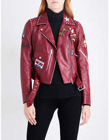 Belstaff Ladies Exposed zip Patch Appliqué Leather Biker Jacket