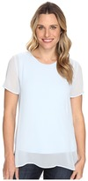 Vince Camuto Short Sleeve Crew Neck Chiffon Overlay Blouse