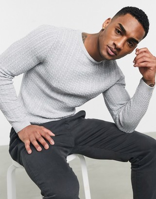ASOS DESIGN muscle fit lightweight cable jumper in grey