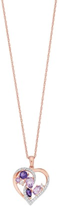 14k Rose Gold Over Silver Amethyst & Lab-Created White Sapphire Heart Pendant Necklace