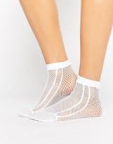 Asos Fishnet Side Stripe Ankle Socks In White