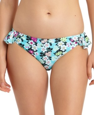 California Waves Floral-Print Ruffled Hipster Bikini Bottoms, Created for Macy's Women's Swimsuit