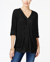 Style&Co. Style & Co. Lace-Trim Textured Blouse, Only at Macy's
