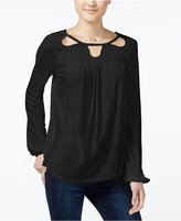 Jessica Simpson Fifi Embroidered Cutout Peasant Top
