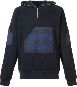 Mostly Heard Rarely Seen plaid zipped neck hoodie