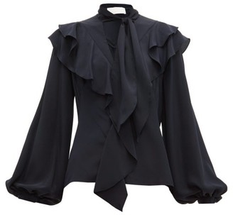 Peter Pilotto Ruffled Balloon-sleeve Silk-crepe Blouse - Womens - Navy