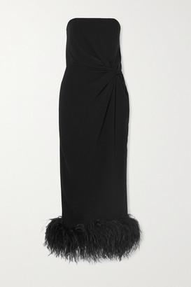 16Arlington Himawari Strapless Feather-trimmed Knotted Crepe Midi Dress - Black
