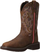 "Justin Boots Women's Gypsy Collection 11"" Waterproof Boot Wide Square Double Stitch Toe Brown Rubber Outsole,Barnwood Brown Buffalo/Barnwood Brown Buffalo with Diamond Cut Pull Strap"