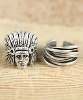 Nautilus Silvertone Wrap Ring Set