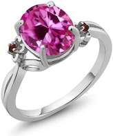 Gem Stone King 3.27 Ct Oval Pink Created Sapphire Garnet 18K White Gold Ring
