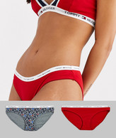 Tommy Hilfiger classic cotton logoband 2 pack bikini briefs in red / gray