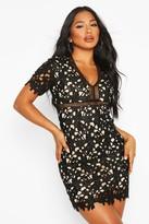 boohoo Heavy Crochet Lace Short Sleeve Mini Dress