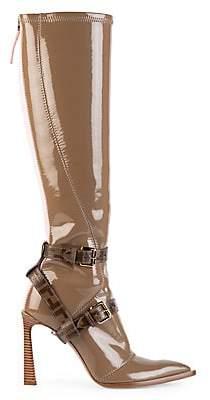 Fendi Women's Harness Buckle Patent Neoprene Tall Boots