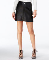 GUESS Faux-Leather Zip-Front Mini Skirt