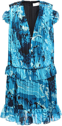 Victoria Victoria Beckham Ruffled Printed Voile Mini Dress