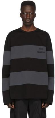 Juun.J Black and Grey Striped Long Sleeve T-Shirt