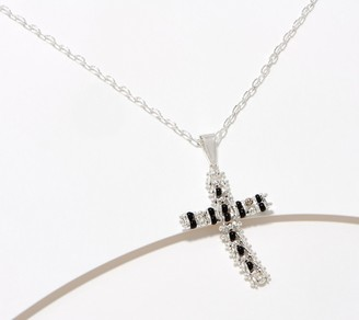 """Imperial Silver Beaded Cross 18"""" Necklace, Sterling Silver"""